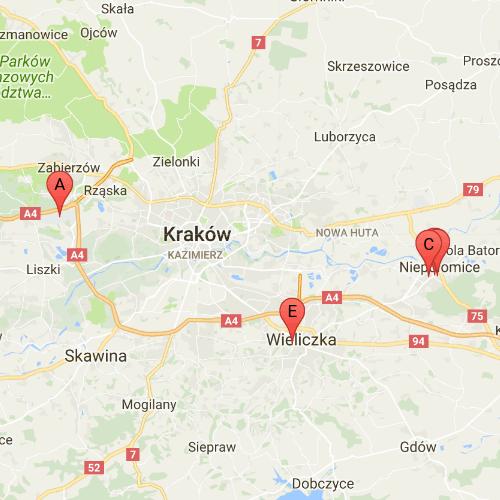 Mapa okolic Krakowa